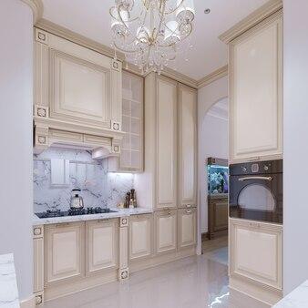 고전적인 스타일의 작은 주방. 3d 렌더링.