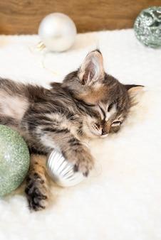 小さな子猫はクリスマスボールと白い柔らかい毛布で寝ます。