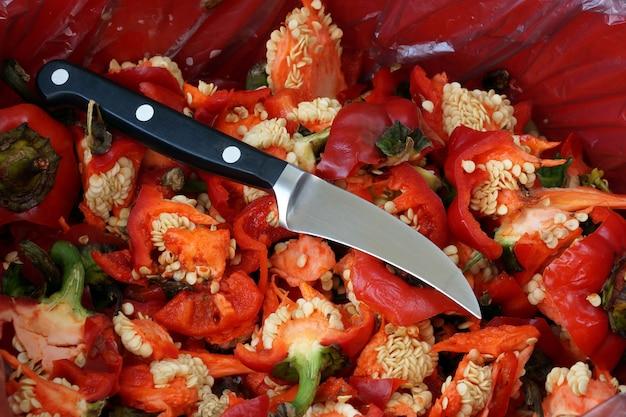 야채와 과일을 가볍게 치고 청소하기위한 작은 칼