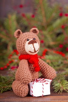 Small knitted bear, new year's gift.