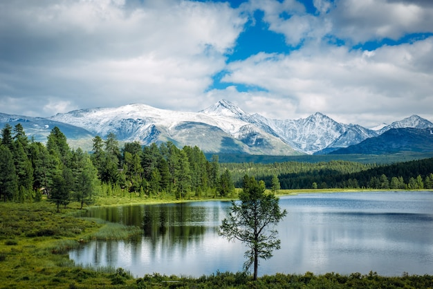 Small lake on grass and fluffy clouds over green meadows and snowy peaks. highland lake, altay, siberia