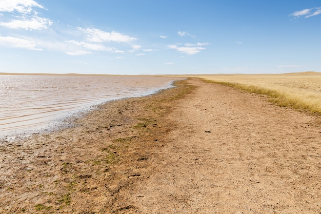 A small lake in the mongolian steppe