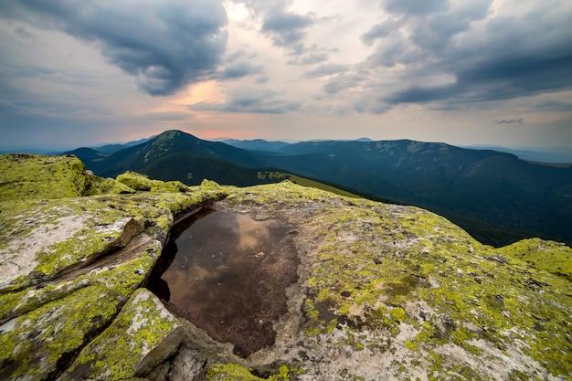Small lake on rocky mountain peak