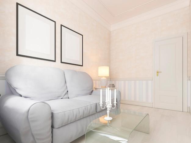 ソファとテレビ付きのリラックスできる小さなリビングルーム。 3dレンダリング。