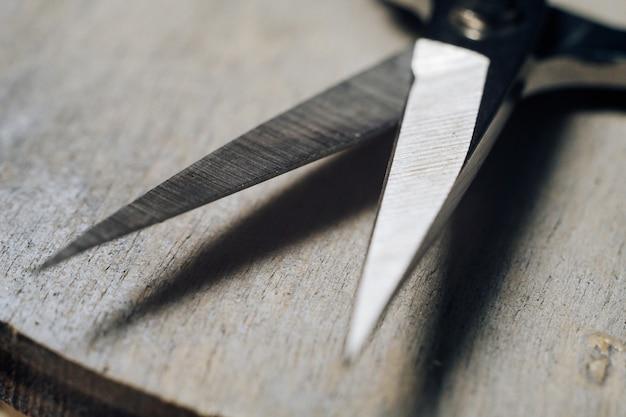 Small metal sharp scissors blade close up