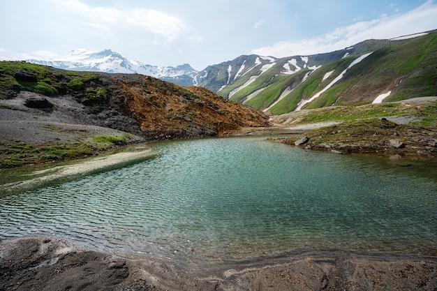 Small mountain lake in kamchatka mountains