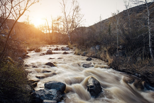 Small mountain river surrounded by rocky banks against the hills and sunset. dry grass and leafless trees on the shore. early spring, snow melting. natural background.