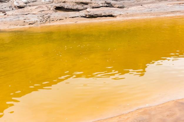黄色い水と小さな山の川