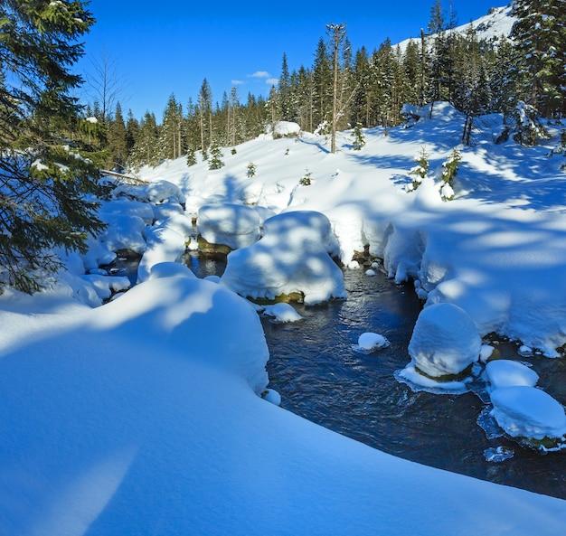 눈이 내리는 작은 계류는 경사면의 가장자리와 전나무에 드리프트합니다.