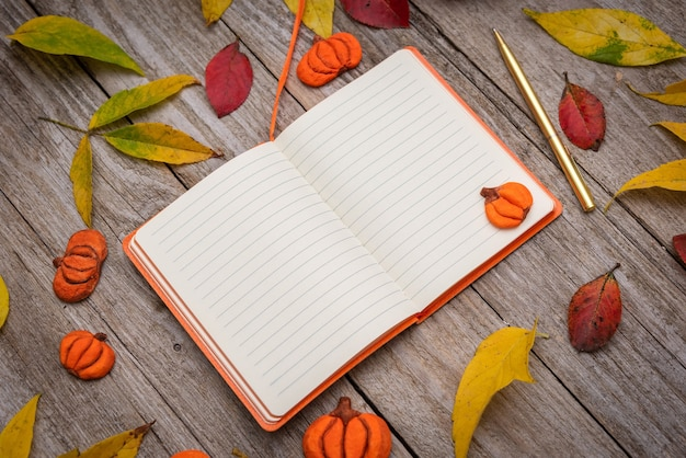 A small notebook lies on a wooden table with autumn leaves, flat lay