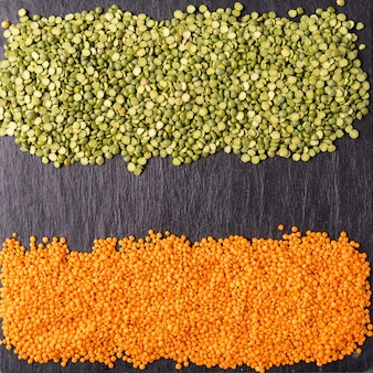 Small orange lentils seeds of annual legume plant.