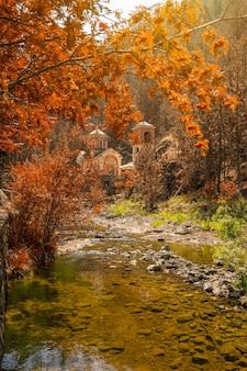 秋の色の素晴らしい自然と小さな正教会