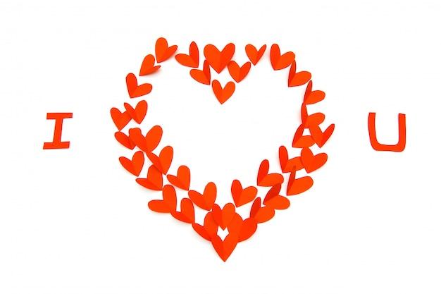 Small paper hearts making a big heart