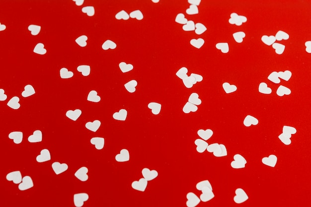 Small paper hearts on table