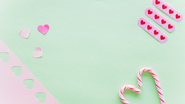Small paper hearts with candy canes