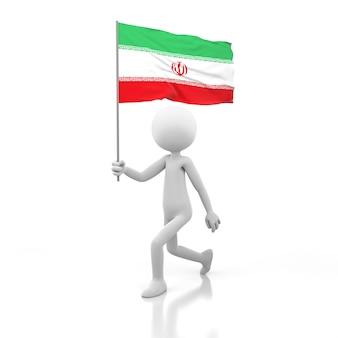 이란 국기를 손에 들고 걷는 작은 사람. 3d 렌더링 이미지