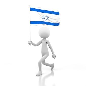 손에 이스라엘 국기와 함께 걷는 작은 사람. 3d 렌더링 이미지