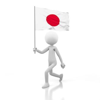 일본 국기를 손에 들고 걷는 작은 사람. 3d 렌더링 이미지