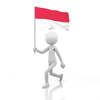 네덜란드 국기를 손에 들고 걷는 작은 사람. 3d 렌더링 이미지