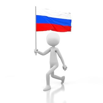 手にロシアの旗を持って歩く小さな人。 3dレンダリング画像