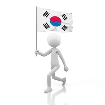 Small person walking with south korea flag in a hand. 3d rendering image