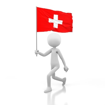 Small person walking with switzerland flag in a hand. 3d rendering image