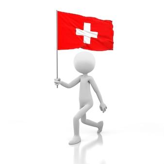스위스 국기를 손에 들고 걷는 작은 사람. 3d 렌더링 이미지