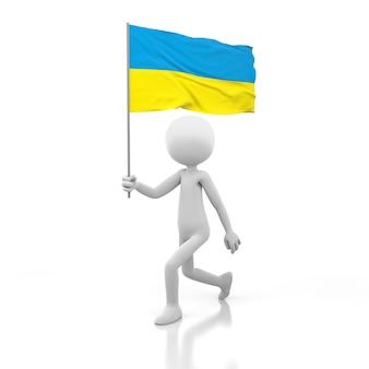 Маленький человек идет с флагом украины в руке. 3d-рендеринг изображения