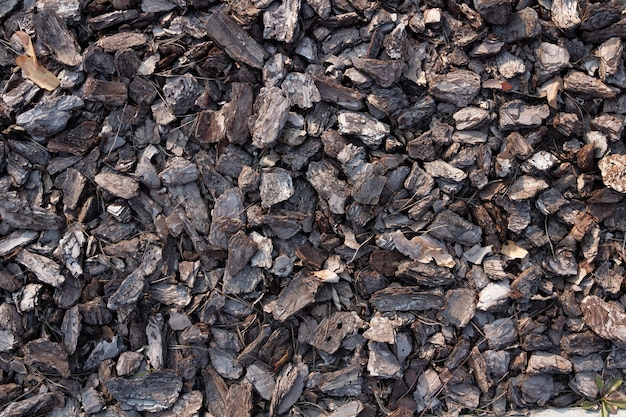 Small pieces of tree bark. crushed tree bark texture background. brown tree bark for decoration or for playground.
