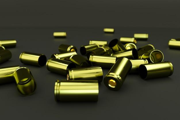 어두운 고립 된 배경에 카트리지의 작은 더미. 어두운 바닥에 무작위로 흩어져 있는 황금 총알. 3d 일러스트레이션, 측면도, 클로즈업