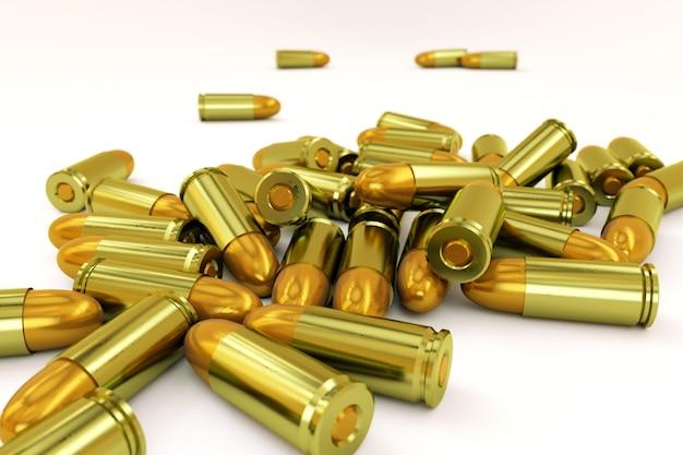 격리 된 흰색 배경에 황금 총알의 작은 더미. 작은 더미에 있는 권총용 총 카트리지. 3d 그래픽, 클로즈업
