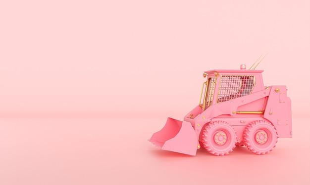 Маленький розовый и золотой бульдозер на розовом фоне. 3d визуализация.