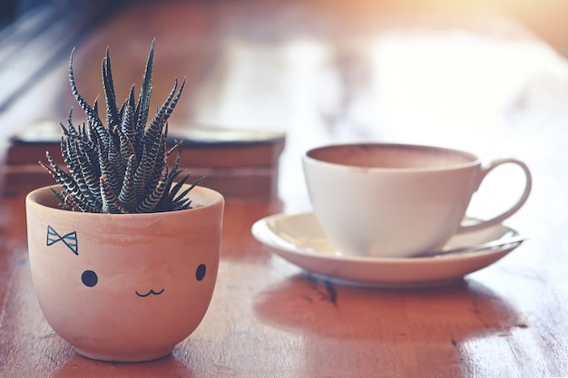 Small plant pot cactus on table in coffee bar decoration display window light