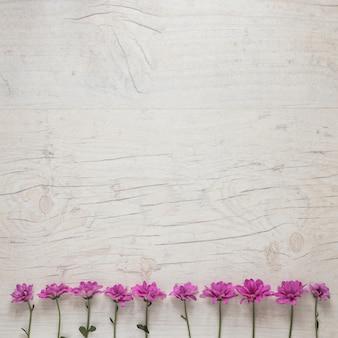Маленькие фиолетовые цветы разбросаны на белом столе