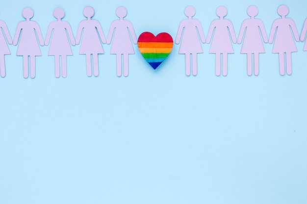 Small rainbow heart with lesbian couples icons