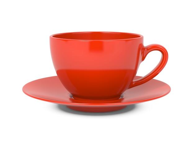 白い背景で隔離の小さな赤いコーヒーカップ。