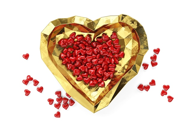 Small red hearts lie on golden plate, valentine's day theme, 3d