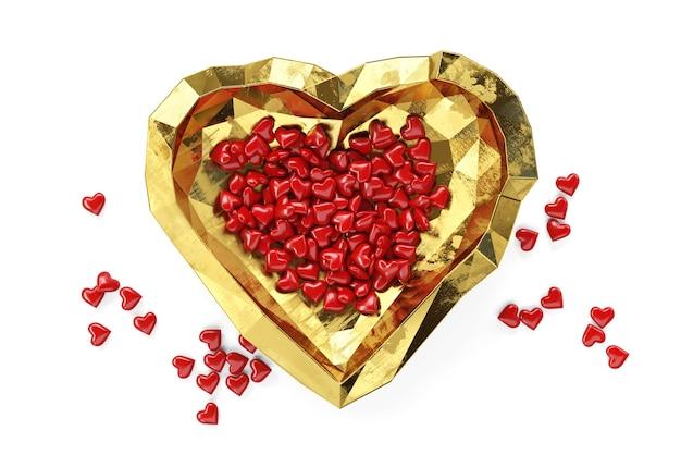 小さな赤いハートが金色のプレートに横たわる、バレンタインデーのテーマ、3d