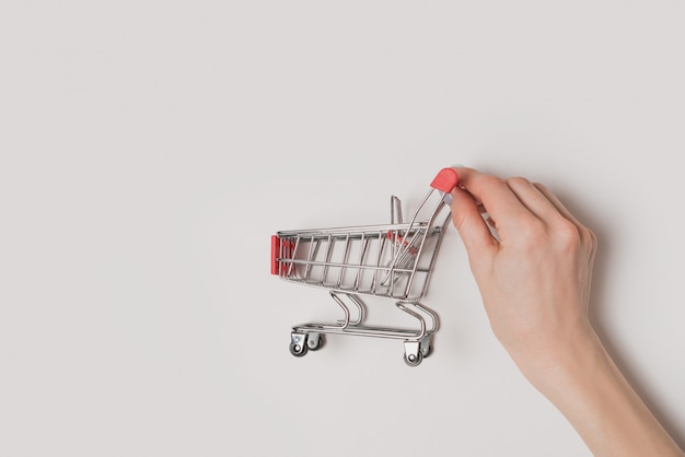Small red metal shopping trolley in a female hand isolate. shopping concept