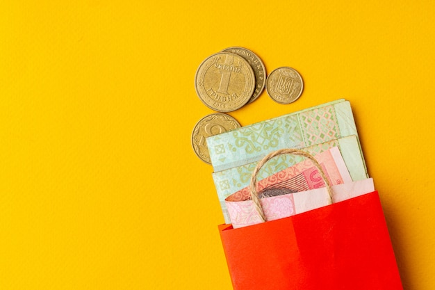 Small red shopping bag with ukrainian currency hryvnia