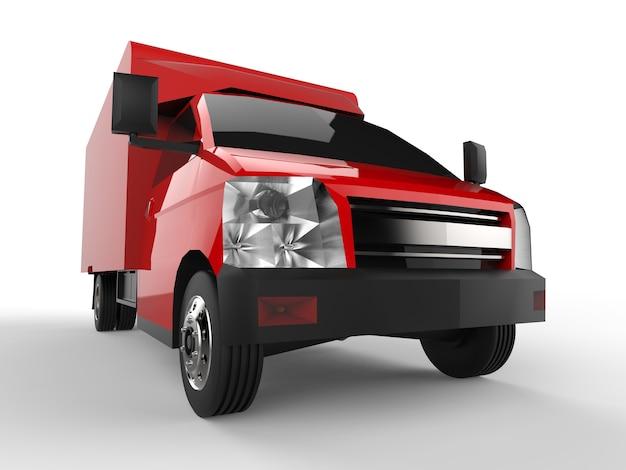 작은 빨간 트럭. 자동차 배달 서비스입니다. 상품 및 제품을 소매점으로 배송합니다. 3d 렌더링.