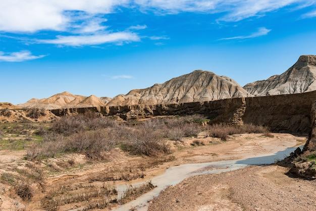 山の間の峡谷の小さな川