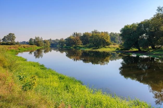 晴れた夏の朝の青空を背景に小さな川