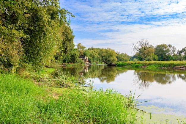Небольшая река на фоне зеленых деревьев на берегу против голубого неба. речной пейзаж солнечным осенним утром