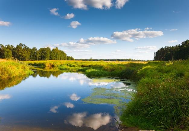 Маленькая река на зеленом поле на фоне неба