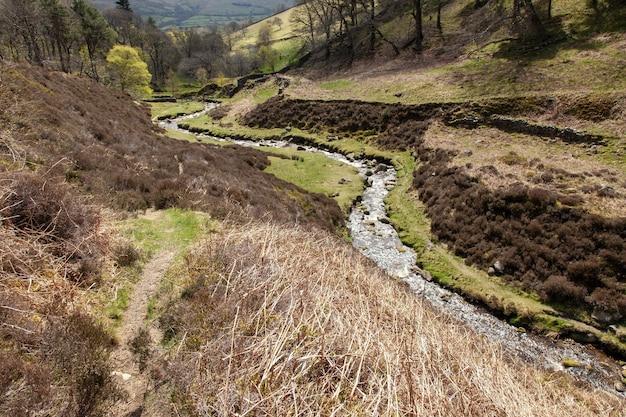 Небольшая река в окружении холмов, покрытых зеленью, под солнечным светом в великобритании