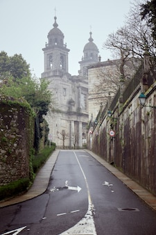 Small road in the city of santiago de compostela on a cloudy day.