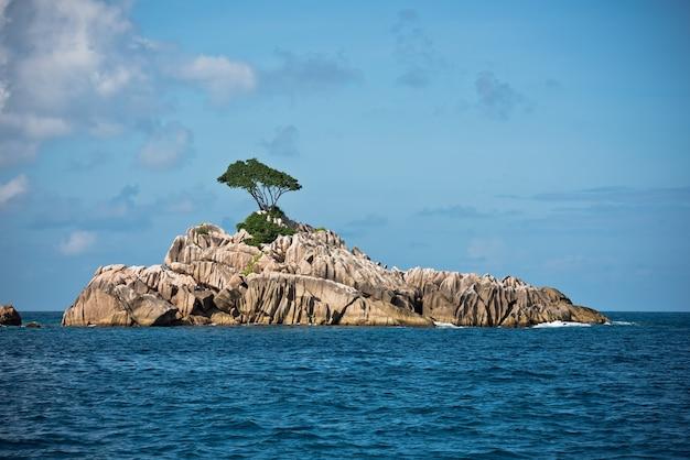 세이셸 근처 인도양의 작은 바위 섬