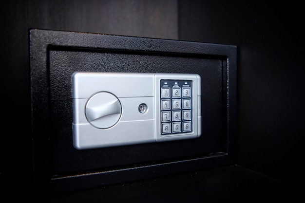Small safe on shelf in your home or hotel