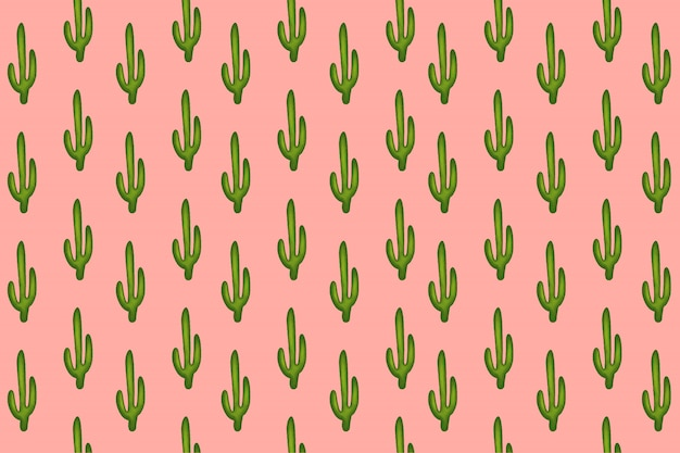 Small saguaro cactus (carnegiea gigantea) with pink pastel pattern. abstract seamless minimalism. cartoon style.